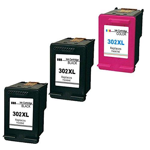 Ink_seller - Paquete de 3 cartuchos de tinta compatibles con HP 302XL (2negro, 1color) para impresora HP Envy 45