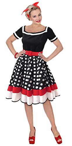 Karneval-Klamotten 50er Jahre Kostüm Damen Retro Rockabilly schwarz weiß rot Größe 42/44 (Kinder 50er-jahre-halloween-kostüme Für)