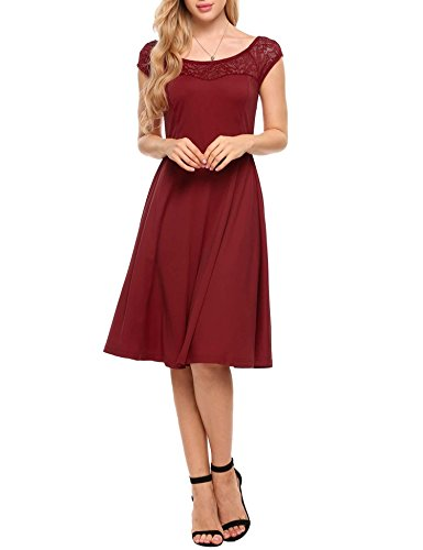 Meaneor Women's Retro Floral Lace Top Short Sleeve Peter Pan Collar Swing Cocktail Dress