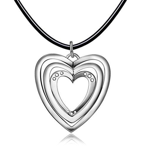 Hardart Herzform Edelstahl Liebe Anhänger Leder Halskette (Kristall Halskette Leder)