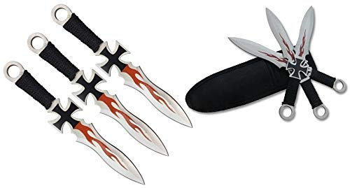KOSxBO® 3 teiliges Eiseners Kreuz Darts Wurfmesser Set Iron Cross Flames Edition hochwertige Kunai Messer 17,5 cm inkl Nylon Scheide und Gürtelclip für Profis und Anfänger -