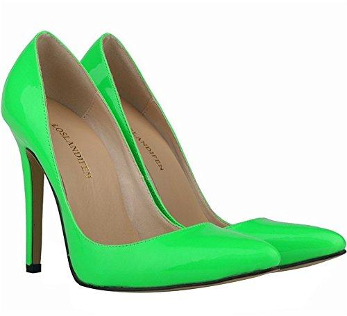 Wealsex Elegante Bonbonfarben Stiletto Damen Pumps Stiletto High Heels 2017 Frühling und Sommer Schuhe Grün