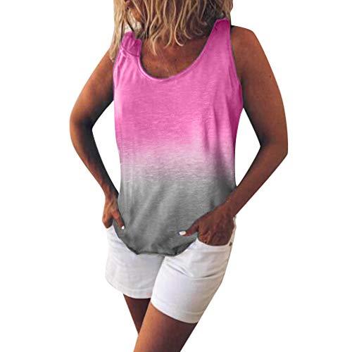 Heißer Frauen Weste T Shirt - Damen O Ausschnitt Farbverlauf Kontrastfarbe Ärmelloses Tank Tops Pullunder Sommer Bluse Freizeit Trägershirts (Hot Pink,5XL)