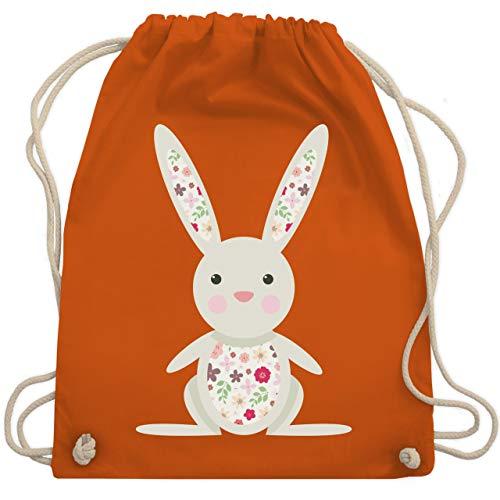 Tiermotive Kind - Süßer Hase - Frühlingstiere mit Blumen - Unisize - Orange - WM110 - Turnbeutel & Gym Bag (Kinder Oster-ideen Für)