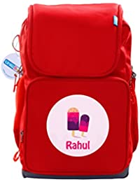 UniQBees Personalised School Bag With Name (Active Kids Medium School Backpack-Red-Sprinkles)