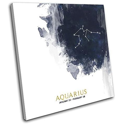 Bold Bloc Design - Aquarius Zodiac Constellation Starsign 60x60cm SINGLE Boite de tirage d'Art toile encadree photo Wall Hanging - a la main dans le UK - encadre et pret a accrocher - Canvas Art Print
