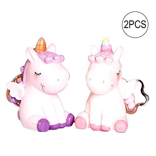1 Paar Cute Unicorn Schlüsselanhänger Schlüsselanhänger Schlüsselanhänger für Jungen, Mädchen, Kinder Kinder Erwachsene super entzückender Einhorn-Schlüsselring