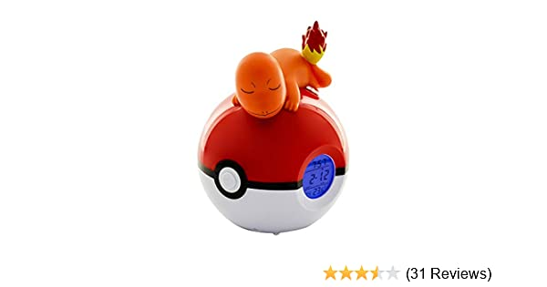 Teknofun 811368 Pokemon Charmander Digital Alarm Clock Lamp & Radio Functions, Orange