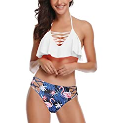Aibrou Bikini Mujer Conjunto Sexy 2019 Cabestro Cuello Bañador Cuello en V, Traje De Baño Push up con Relleno,Ropa de Baño 2 Piezas Verano para Mujer y Chica S-XL