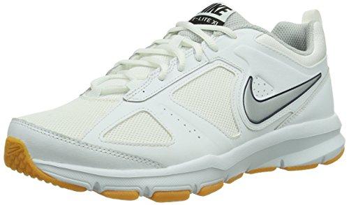 Nike t-lite xi mesh, scarpe da ginnastica uomo, bianco (weiß (white/metallic silver-gm light brown)), 45