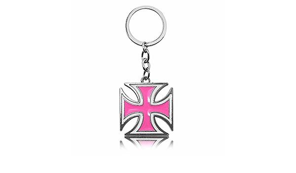 Tumundo 1 Schlüsselanhänger Eisernes Kreuz Ek Iron Cross Schlüsselband Schlüsselring Anhänger Ring Rosa Weiß Silbern Schmuck