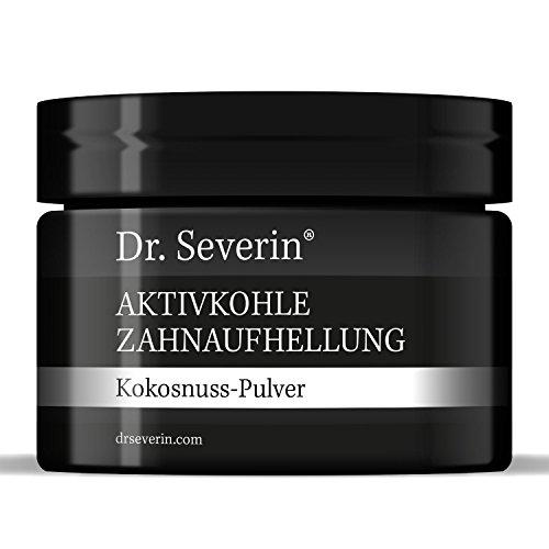 Dr. Severin® Aktivkohle Zahnaufhellung Kokosnuss-Pulver. Zahn-Bleaching. Schwarzes Pulver mit Zahnpasta mischen, für Zahnreinigung, direkte Wirkung. Zufriedenheitsgarantie. Beste deutsche Qualität. -