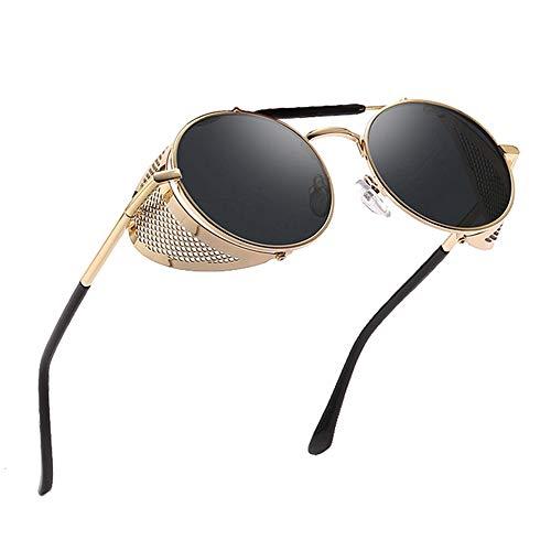 HLLHDG Round Sunglasses Men Women Side Shield Goggles Metal Frame Mirror Lens Sun Glasses