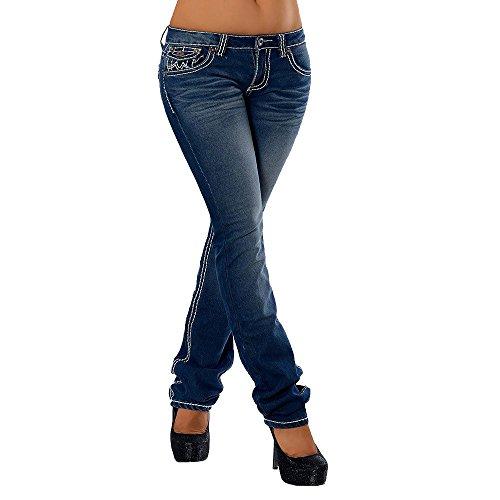 H922 Damen Bootcut Jeans Hose Damenjeans Hüftjeans Gerades Bein Dicke Naht Nähte, Farben:Dunkelblau;Größen:42 (XL) (Bein-hosen-jeans)