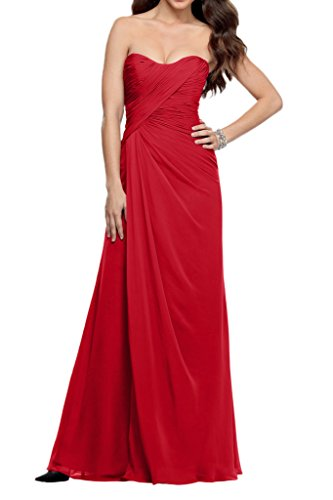 La_Marie Braut Chiffon Einfach Brautjungfernkleider Festlich Damen Formale Partykleider Bodenlang Schmaler Schnitt Rot