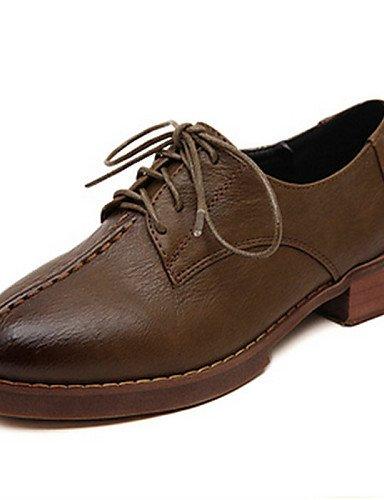 ZQ Scarpe Donna - Stringate - Casual - A punta - Quadrato - Finta pelle - Nero / Marrone , brown-us8 / eu39 / uk6 / cn39 , brown-us8 / eu39 / uk6 / cn39 brown-us6 / eu36 / uk4 / cn36