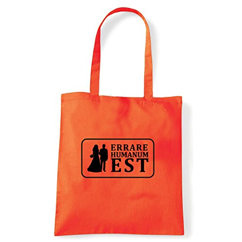 Art T-shirt, Borsa Shoulder Errare Humanum Est, Shopper, Mare Arancio