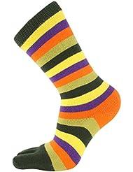 Deep Green Striped mi-mollet Toe chaussettes de Toe Toe