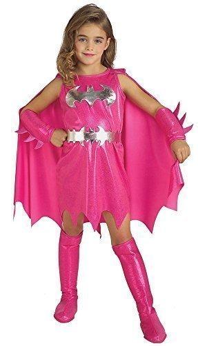 Comic Halloween Dc Kostüme (Mädchen Offiziell DC Comics Pink Batgirl Batman Halloween Büchertag Kostüm Kleid Outfit 1-6 jahre - Rosa, 3-4)