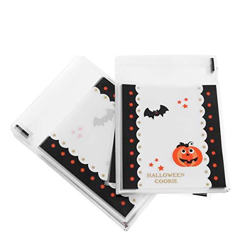 alloween Selbstklebende Süßigkeitstüte Nette Plastiktüten für Süßigkeiten Plätzchen Gebäck (Kürbis, Fledermaus) ()
