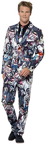 Mens Zombie Walker Stalker Suit with Tie Halloween Horror Fancy Dress Costume Outfit (Halloween Wissenschaftler Kostüm)