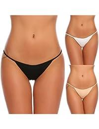 ADOME Mujer Bragas Atractivas Malla Lencería Ropa Interior Erótica Tanga Mujeres 3 Piezas Tanga Bikini