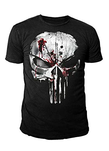 Punisher - Herren Vintage T-Shirt Marvel Comics - Bloody Skull Logo (Schwarz) (S-XL) (S) -