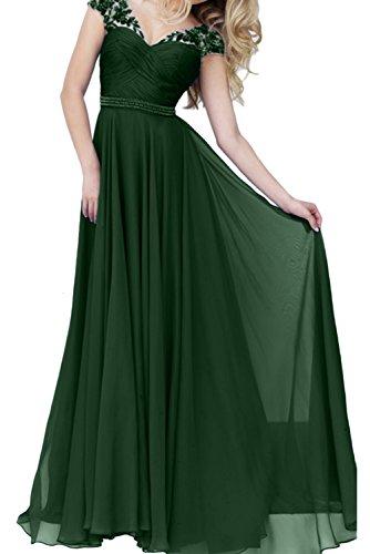 Ivydressing Damen V-Ausschnitt Lang A-Linie Promkleid Ballkleid Abendkleider Dunkelgruen