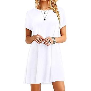 YMING Damen Casual Blusenkeid Lose Tunika Casual T-Shirt Kleid Kurzarm Basic Strickkleid,Weiß,XXL/DE 44