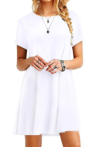 YMING Damen Casual Blusenkeid Lose Tunika Casual T-Shirt Kleid Kurzarm Basic Strickkleid,Weiß,XXL/DE 44