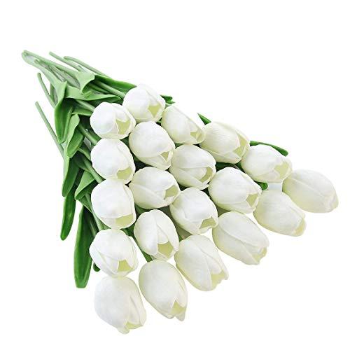 Justoyou, tulipani artificiali in latex, bouquet da sposa, per matrimonio, casa, giardino, decorazioni (20 pezzi)
