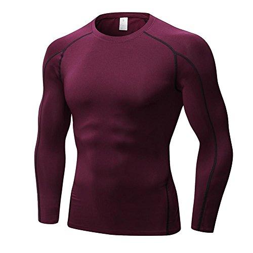 Herren Cool Compression T-Shirt Langarm Sport Athletisch Base Layer Tank Top von Hankyky (Shirt Compression Tight-fit)