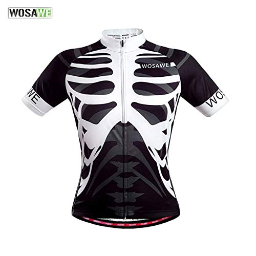 Huihuiya WOSAWE Quick Dry Fahrradbekleidung Reiten Radtrikot Tops Kurze Ärmel-Skelett