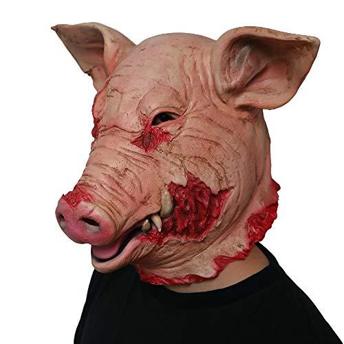 (Halloween Maske Erwachsene Horror Schweinekopf Latex Tier Requisiten Clown Maske Kopf Abdeckung)