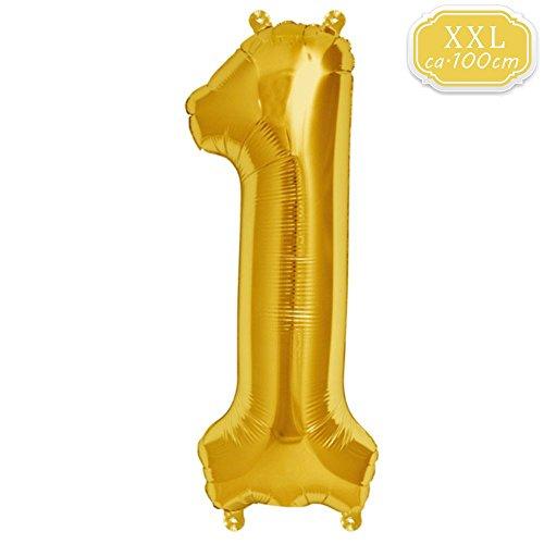 on Zahl [ca.100cm], Gold Luftballon Zahlen für Geburtstag Jubiläum & Party Geschenk partydeko Folienballon Zahlen Luftballons Happy Birthday (Gold [1]) ()