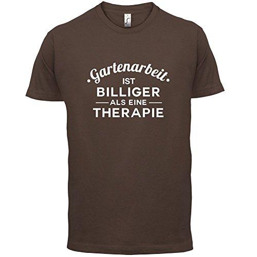 Gartenarbeit ist billiger als eine Therapie - Herren T-Shirt - 13 Farben Schokobraun