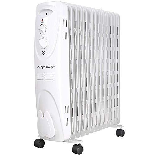 Aigostar Warm Snow 33JHF - Radiador de aceite portátil de 13 elementos, 2500 Watios, dispone de 3 ajustes...