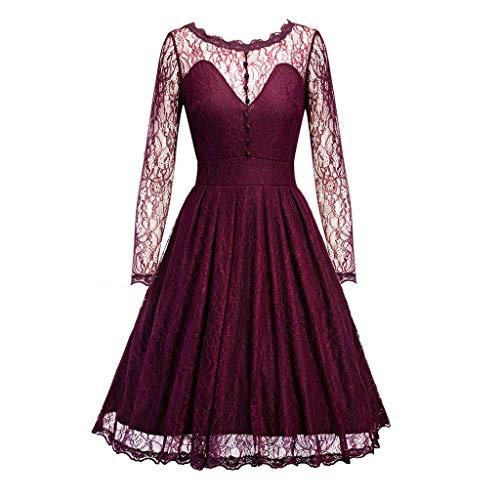 NINGNETI Vestidos Casual Grande Verano Mujer Largos De Fiesta De CóCtel De Encaje Vintage De Vintage Silod Spring Country Rock
