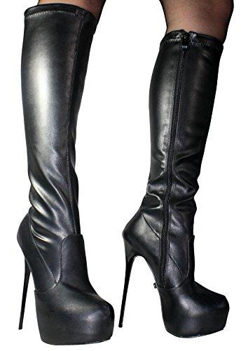 Erogance Plateau High Heels Kneestiefel, Stivali donna 37 nero