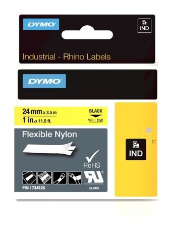 DYMO Rhino Adhesive Fabric Label Tape, Nylon, 1-inch, 18-foot Cassette, Yellow (1734525) by DYMO