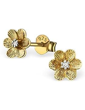 SILV Blumen Ohrringe Stecker Zirkonia - 925 Silber Ohrstecker Blume Blüte Silber rhodniert o. Gelbgold vergoldet...