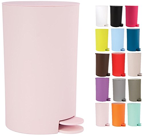 MSV Kosmetikeimer 'Osaki'  Treteimer  - 3 Liter – mit herausnehmbaren Inneneimer - Pastellrosa