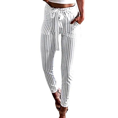 Coolster Damen-beiläufige gestreifte hohe Taillen-Hosen-elastische Taillen-beiläufige Hosen (weiß, L) (Totenkopf-bikini)