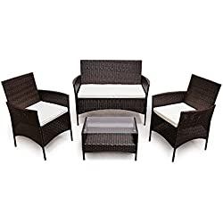 SVITA Poly Rattan Sitzgruppe Essgruppe Set Farbwahl - Cube Sofa-Garnitur Gartenmöbel Lounge Farbwahl (4er Garnitur, Braun)