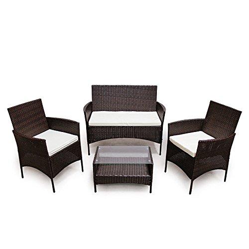 POLY RATTAN Lounge Gartenset Dunkelbraun Sofa Garnitur Polyrattan Gartenmöbel