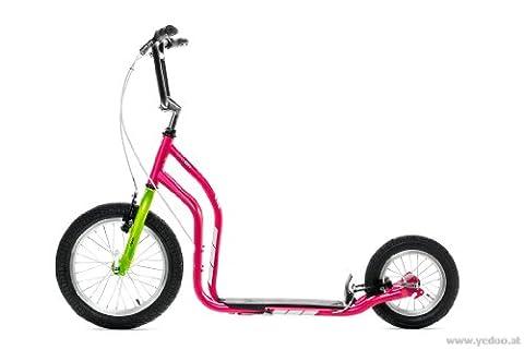 Yedoo New CITY Trottinette à grandes roues 40,6cm et 30,5cm Rose/vert