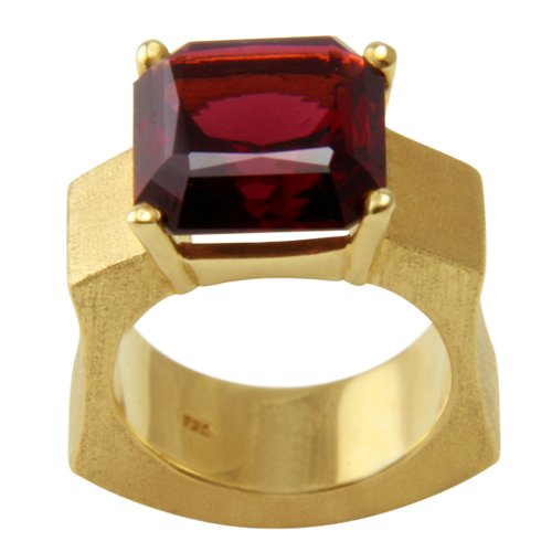 Joyas de diseño skielka único rodolitos anillo oro de forja (oro{5750}) - anillo de oro con rodolitos 15.3 puiido - rodolitos anillo negro - Reloj