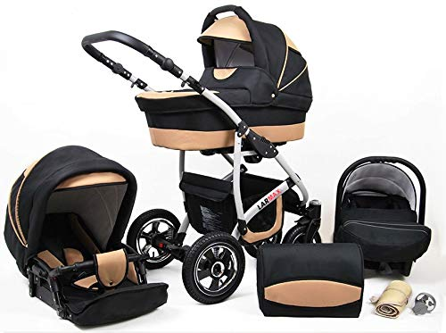 Lux4Kids 3 in 1 Combi pram Pushchair Stroller Complete Set with car seat Isofix Larmax Black & Beige 3in1 with Baby seat Lux4Kids Lux4Kids 4in1 or 3in1 or 2in1 pushchair. You have the choice whether you need a car seat (baby seat certified according to ECE R 44/04 or not). Of course, the Pram is stabil, safe and durable Certificate EN 1888:2004 Of course, the baby Basket has a rocking function when it is removed from the pram. The push handle adapts to your size and fits for everyone 1