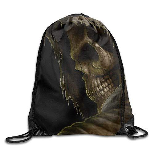 Acme&Real Grim Reaper Death Dark Skull Drawstring Backpack Bag Sports Gym Sack (Grim Reaper Make-up)