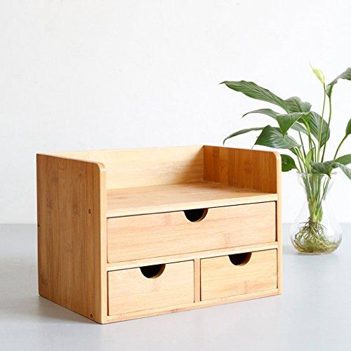 XXGI Tischregal Regal Massivholz Bambus Einfach Einfache Moderne Kleine Computer Büro Student Versenkbare Schublade Regal Bücherregal (29,6 * 19,7 * 20,8 Cm) (3-schubladen-bücherregal)